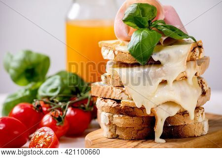 Stockpile Of Homemade Toasted Cheese Pressed Sandwiches