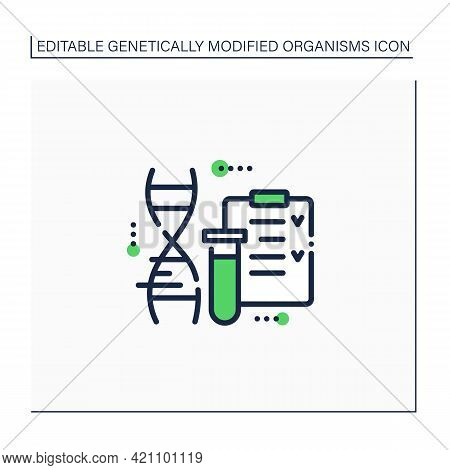 Gmo Test Line Icon.screening. Absence Or Presence Of Genetically Modified Plant Material. Checking D
