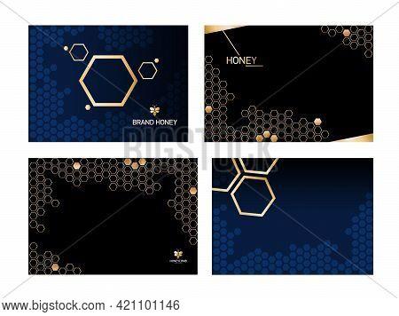 Set Horizontal Modern Honeycomb Black Background With Golden Honeycomb.