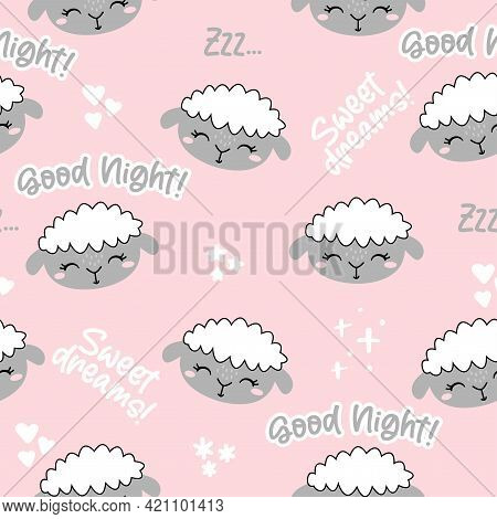 Little Lamb, Sheep Pattern. Good Night, Sweet Dreams - Funny Hand Drawn Doodle, Seamless Pattern. Le