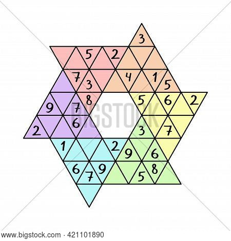 Star Sudoku Colorful Number Game For Beginners Stock Vector Illustration. Unusual Triangular Sudoku