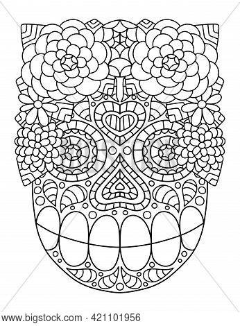 Hand-drawn Skull With Flower Wreath Ornamental Linear Stock Vector Illustration. Happy Dia De Muerto