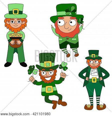 Cartoon Hand-drawn Four Leprechauns White Isolated Set Stock Vector Illustration. Happy Four Differe