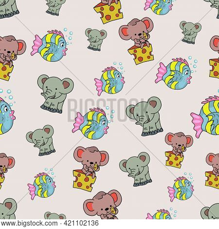 Seamless Children's Pattern. Elephant, Mouse And Fish. Vector Illustration.