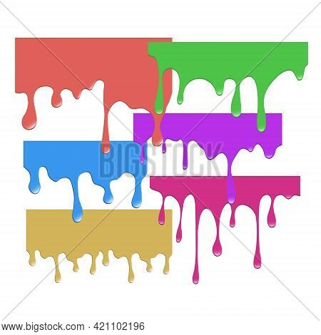 Set Of Dripping Colorful Paints. Dripping Liquid. Fluid Fluid. Spilling Paint. Falling Paint. Fluid