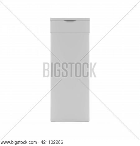 Plastic Non-transparent Shampoo Bottle, Front View. Isolated On White Background, 3d Render.