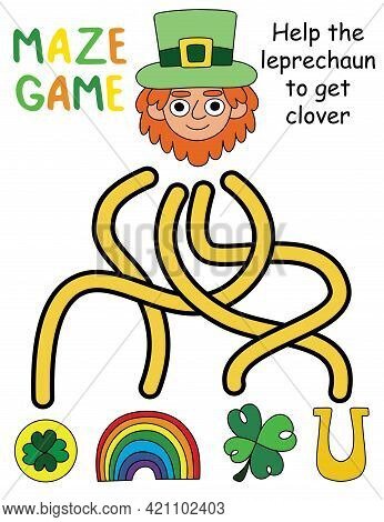 St Patrick Day Maze Game - Help The Leprechaun To Get The Clover Stock Vector Illustration. Funny Vi
