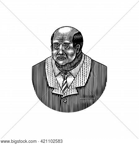Elegant Man. Old Afro American Gentlemen. Victorian Era. Fashion And Clothes. Businessman In Suit. H