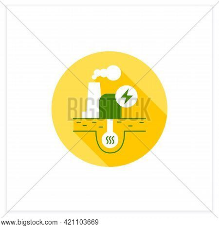 Geothermal Power Flat Icon. Geothermal Energy. Dry Steam, Flash Steam, Binary Cycle Power Station. E