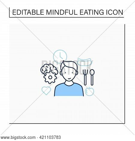Mindful Eating Line Icon. Control Nutrition Habits. Intuitive Eating. Conscious Nutrition. Healthcar