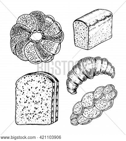 Bakery Products Set. Donut And Bread, Croissant And Sandwich. Engraved Hand Drawn In Old Sketch And