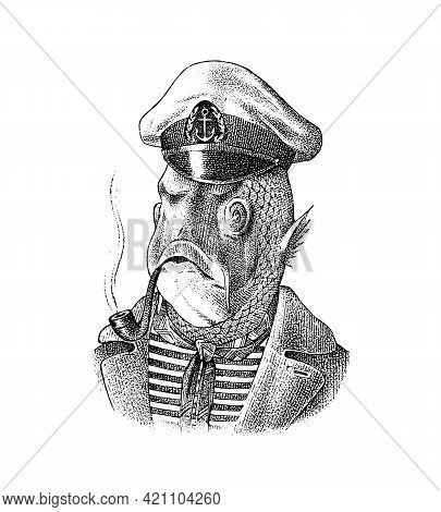 Fish Man Sailor With A Pipe. Mariner In A Cap And Vest. Fashion Animal Character. Hand Drawn Sketch.