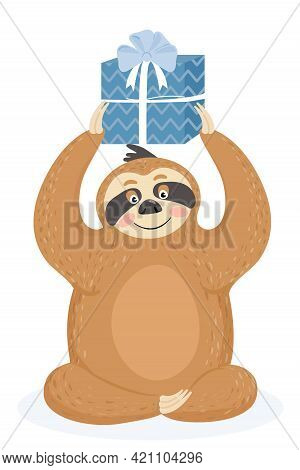 Greeting Card With Sloth. Cute Lazy Sloth With Gift. Vector Illustration.