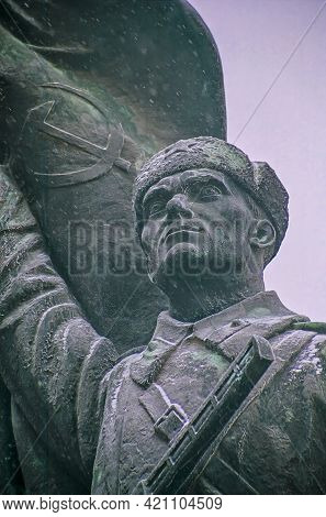 Budapest, Hungary - December 30, 2008: View Of A Communist Statue In The Memento Park, In Budapest,