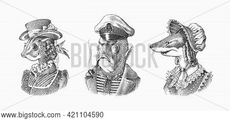 Fish Man Sailor With A Pipe. Fish Victorian Lady. Woman In Hat And Suit. Mariner In A Cap And Vest.