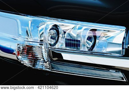 Crystal Optics Of The Suv. Front Lights Of A Passenger Car Close-up. A Modern Part Of The Machine. C