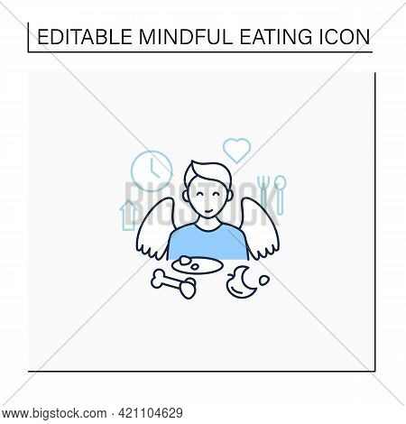 Mindful Eating Line Icon. Satisfied Feeling After Eating. Enjoy Your Meal. Conscious Nutrition. Heal