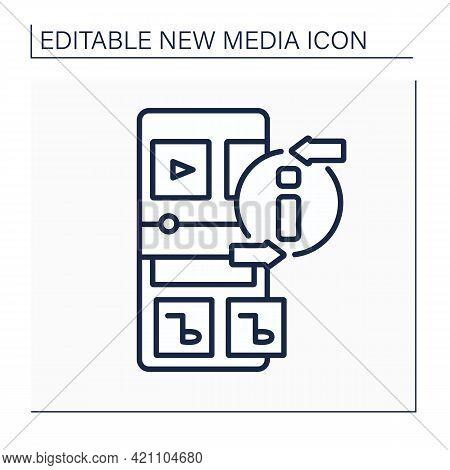 Radio Line Icon. Sound Communication By Radio Waves. Music, News, Social Programs Transmission. Broa