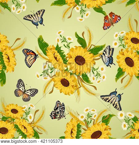 Bouquets With Sunflowers And Butterflies.vector Pattern With Butterflies, Sunflowers And Ears Of Whe