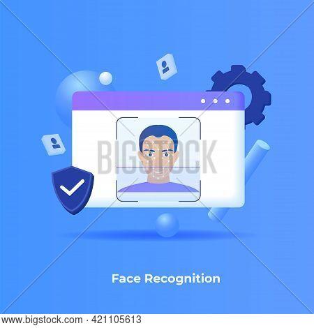 Face Recognition Illustration Concept. Illustration For Websites, Landing Pages, Mobile Applications