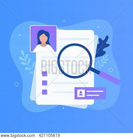 Curriculum Vitae And Magnifying Glass. Illustration For Websites, Landing Pages, Mobile Applications