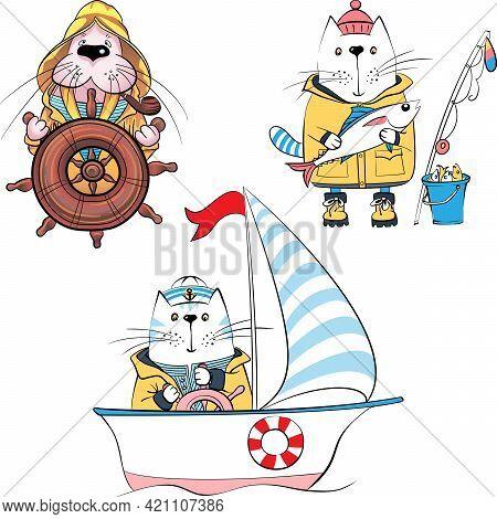 Vector Set Of Cartoon Sailors, Cat Fisherman And Walrus Captain
