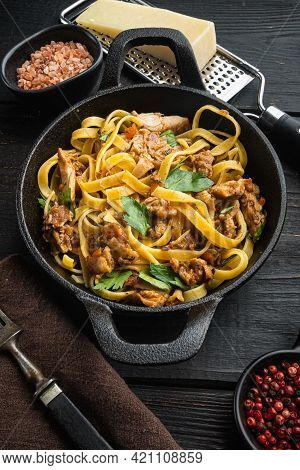 Tasty Spicy Rabbit Stew With Pasta Tagliatelle Or Pappardelle Set, In Frying Cast Iron Pan Or Pot, O