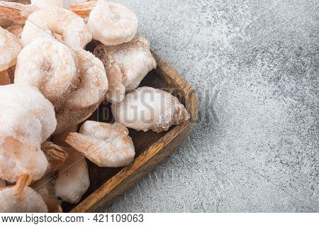 Frozen Peeled Boiled Prawns Set, On Wooden Tray, On Gray Background, With Copy Space For Text
