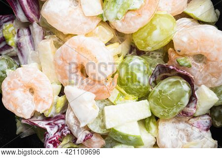Prawn Waldorf Salad Set , With Sauce Apple And Grape, On Black Wooden Table, Top View Flat Lay