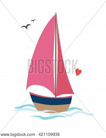 Abstract Sailboat On Waves With Seagulls And One Little Heart Vector Flat Design Eps10