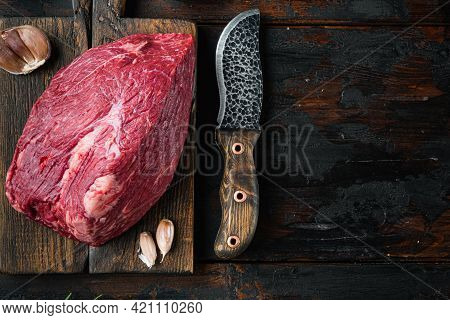 Beef Meat Cut Raw Set, On Wooden Cutting Board With Old Butcher Cleaver Knife, On Old Dark  Wooden T