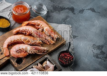 Raw Red Argentinian Prawns Set, On Gray Background , With Copyspace  And Space For Text