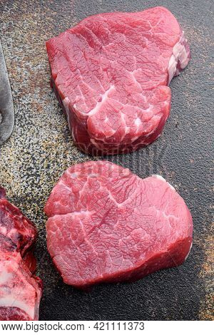 Sirloin Beef Meat Marbled Steak Set, Filet Mignon Tenderloin Cut, On Old Dark Rustic Background, Top