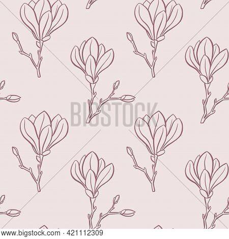 Magnolia Seamless Pattern. Outline Magnolia Flowers. Vector Illustration.