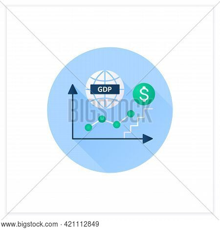 Gdp Growth Flat Icon. Gross Domestic Product.increase In Production And Services In Economy. Upswing