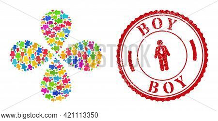Boy Bright Rotation Flower With Four Petals, And Red Round Boy Rough Stamp Imitation. Boy Symbol Ins