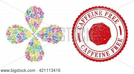 Brilliant Multicolored Centrifugal Flower With 4 Petals, And Red Round Caffeine Free Corroded Stamp.