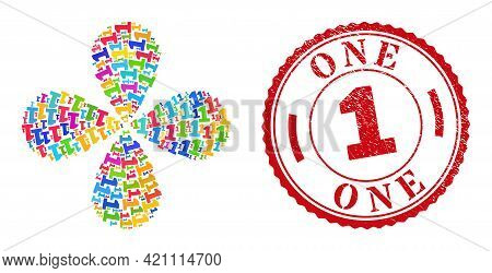 Digit One Colored Rotation Abstract Flower, And Red Round 1 Textured Stamp Imitation. Digit One Symb