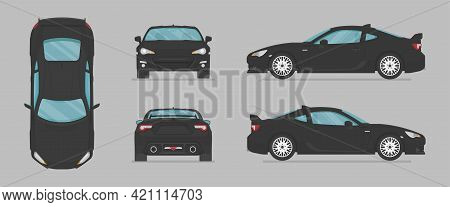 Vector Black Sport Car. Side View, Front View, Back View, Top View. Cartoon Flat Illustration, Car F