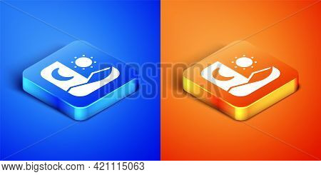 Isometric Ramadan Fasting Icon Isolated On Blue And Orange Background. Fast Day And Night. Religious