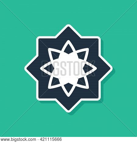 Blue Islamic Octagonal Star Ornament Icon Isolated On Green Background. Vector