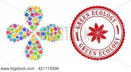 Flower Colored Centrifugal Flower With 4 Petals, And Red Round Green Ecology Textured Watermark. Flo