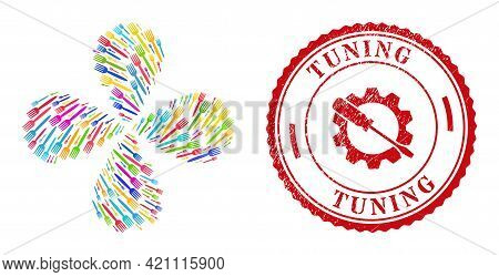 Fork Colorful Explosion Flower Shape, And Red Round Tuning Corroded Stamp Seal. Fork Symbol Inside R
