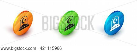 Isometric Muslim Cemetery Icon Isolated On White Background. Islamic Gravestone. Circle Button. Vect
