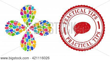 Forum Message Colorful Rotation Flower Cluster, And Red Round Practical Tips Textured Stamp Print. F