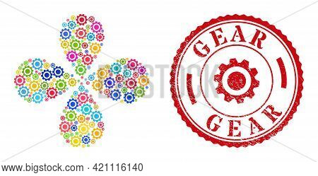 Gear Multi Colored Swirl Abstract Flower, And Red Round Gear Scratched Badge. Gear Symbol Inside Rou