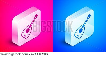 Isometric Musical Instrument Lute Icon Isolated On Pink And Blue Background. Arabic, Oriental, Greek
