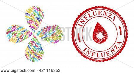Genome Molecule Multicolored Rotation Abstract Flower, And Red Round Influenza Dirty Seal. Genome Mo