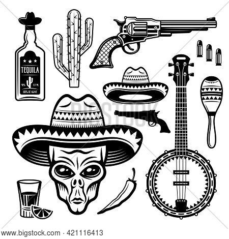 Alien Mexican Bandit And Different Native Attributes Set Of Vector Objects Or Elements In Black And