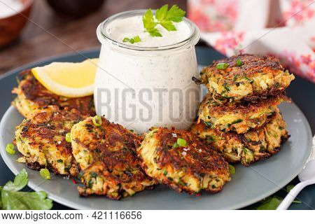 Savory Zucchini Vegetable Fritters With A Sour Cream Dip